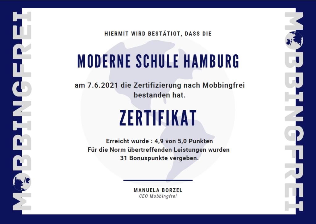 Zertifikat Mobbingfrei Moderne Schule Hamburg